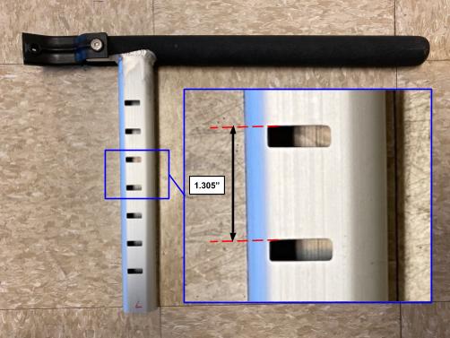 Figure 4. The distance between each handlebar height notch.