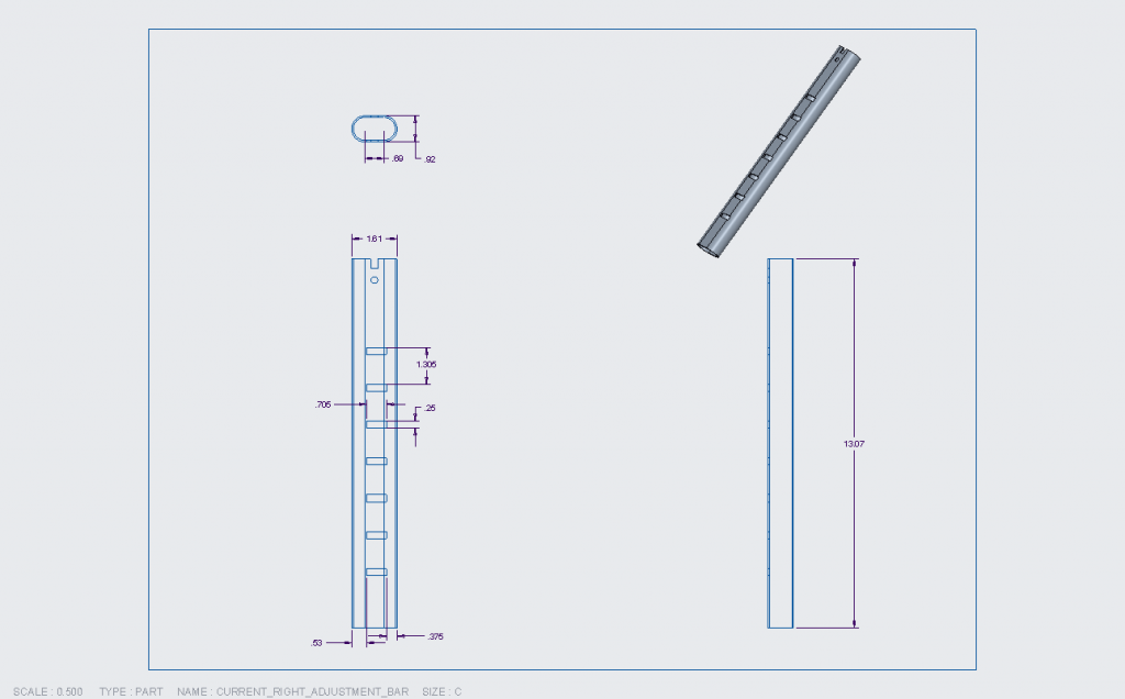Figure 5. Engineering drawing for the left adjustment bar.