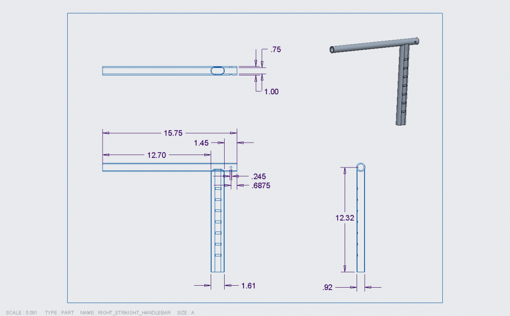Figure 6. Engineering drawing for the right straight handlebar.