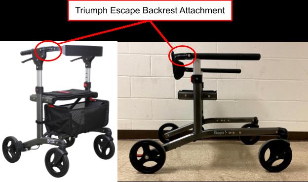 Figure 12. The existing backrest attachment component from the Triumph Escape.