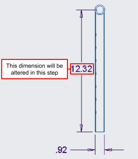 Figure 13. A close-up of the straight handlebar engineering drawing, showing the modified height of the adjustment bar.