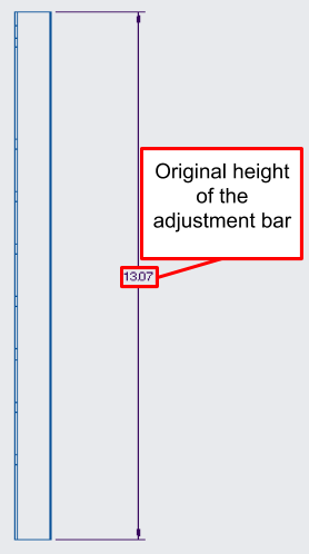 Figure 14. A close-up of the adjustment bar engineering drawing, showing the original height of the component before modification.