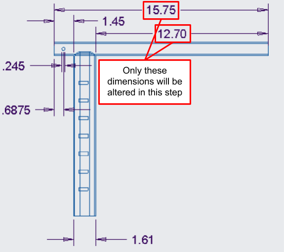 Figure 15. A close-up of the straight handlebar engineering drawing, showing the handlebar length dimensions that will be altered.