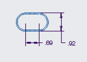 Figure 16. A close-up of the adjustment bar engineering drawing, showing the cross-section of the component.