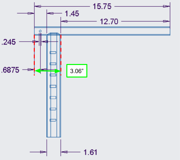 """Figure 22. A close-up of the straight handlebar engineering drawing, showing where the 3.06"""" dimension for the pattern comes from"""