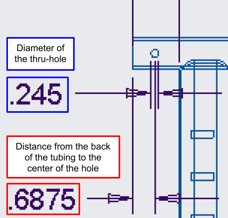 Figure 23. A close-up of the straight handlebar engineering drawing, showing the location and depth of the thru-holes for the backrest attachments.