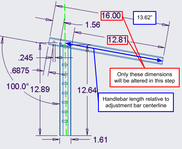 Figure 27. A close-up of the angled handlebar engineering drawing, showing the handlebar length dimensions that will be altered.