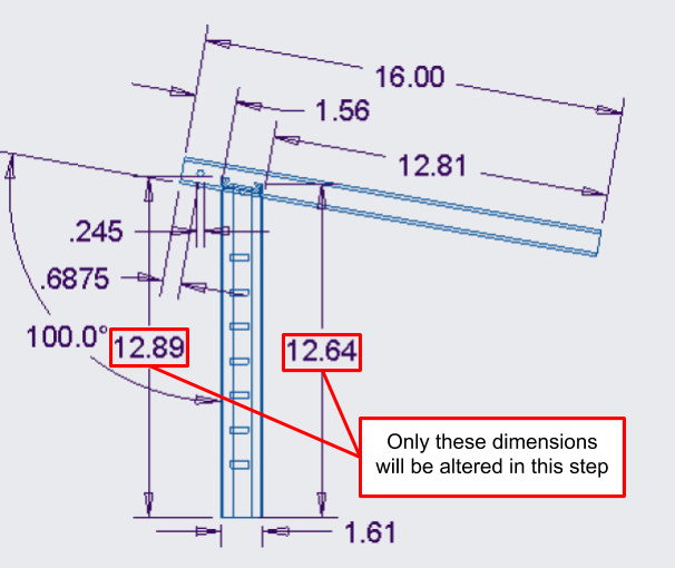 Figure 29. A close-up of the angled handlebar engineering drawing, showing the modified height of the adjustment bar due to the angled cut.