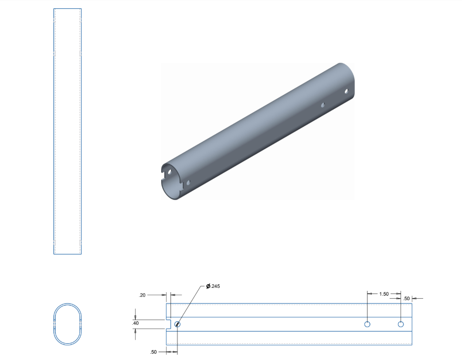 Figure 33. Extension frame engineering drawing.